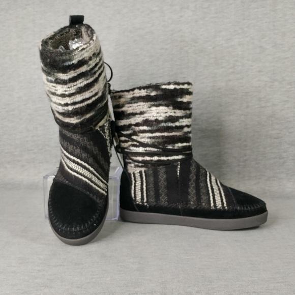 Toms Nepal Black Suede Textile Mix Boots